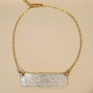 Antique Mother of Pearl Gaming Chip Necklace